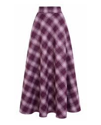 Женственная шерстяная юбка-колокольчик фиолетового цвета в клетку MS 604