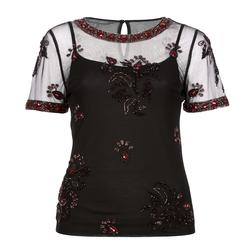 Нарядная блуза черного цвета с вышитым бисерным принтом TS 828