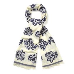 Молочный шарф с перфорацией и цветочным принтом SH 730