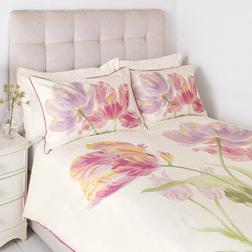 Комплект постели большого размера с рисунком тюльпанов GOSFORD KG 230*220, 50*75 set of-2 (Cyclamen)