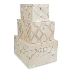 Набор картонных коробок с рисунком цветущей магнолии MAGNOLIA GROVE SET OF 3 28*43,5*18 (Grey)