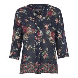 Блуза синего цвета с принтом цветов и рукавом 3/4 BL 864
