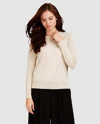 Пуловер кремового цвета из микса шерсти и шелка JP 673