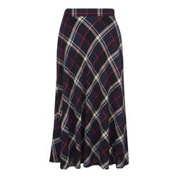 Стильная юбка в шотландскую клетку синего, серого, черного цвета с тонкой красной полоской MS 602