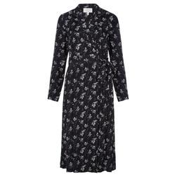Платье на запах черного цвета с цветочным принтом MD 776
