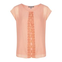 Двухслойная футболка с кружевом, персикового цвета TS 876