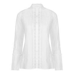 Белая блузка с кружевом и воротничком стоечкой BL 154