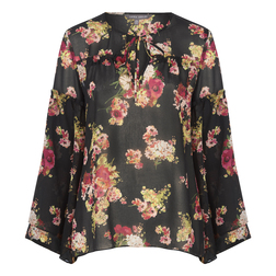 Блуза черного цвета с принтом цветов BL 171