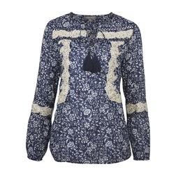Блуза синего цвета с цветочным принтом и кружевом BL 218