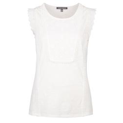 Белая футболка с коротким рукавом и кружевом TS 673