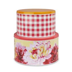Металлические коробки с рисунком цветов и клетки красного цвета FLORAL HERITAGE SET OF 2 CAKE TINS