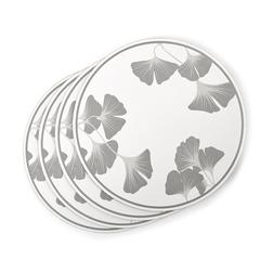 Набор круглых подставок под посуду с серыми листочками GEORGINA SET OF 4 PLACEMATS Ø24 (Grey)