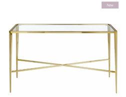 Высокий консольный столик из золотистого металла и стекла VENEZIA CONSOLE TABLE 75*111*35 (Gold)