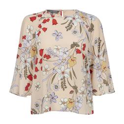 Шелковая блуза бежевого цвета с цветочным принтом BL 229
