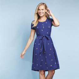 Платье синего цвета с принтом корабликов MD 613