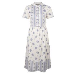 Платье белого цвета с цветочным принтом синего цвета MD 832