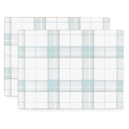 Набор подставок под посуду в голубую клетку HIGHLAND CHECK SET OF 4 PLACEMATS 21*29 (Duck Egg)