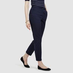 Элегантные брюки с завышенной талией, темно-синего цвета TR 290