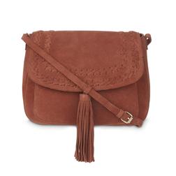 Замшевая сумочка через плечо коричневого цвета BG 704