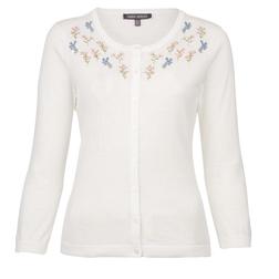 Кардиган белого цвета с цветочной вышивкой CD 862