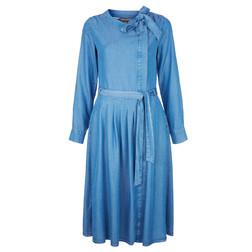 Джинсовое платье с поясом голубого цвета MD 739