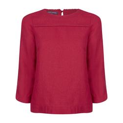 Блуза из льна с рукавом 3/4 малинового цвета BL 262