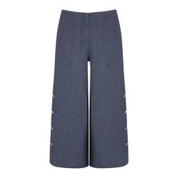 """Брюки-кюлоты из льна синего, """"джинсового"""" цвета TR 401"""