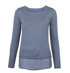 Пуловер голубого цвета с блузочной вставкой JP 656