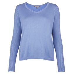 Пуловер голубого цвета с блузочной спинкой JP 681