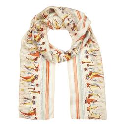 Шелковый шарф с рисунком корабликов SH 774