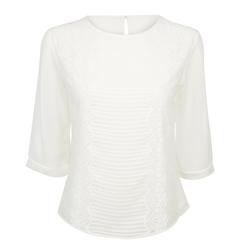 Блуза кремового цвета с кружевом BL 184