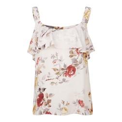 Блуза на бретелях белого цвета с цветочным принтом BL 259