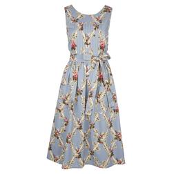 Платье голубого цвета с принтом цветов MD 796