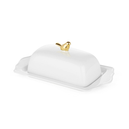 Масленка с золотистой птичкой на крышке BIRD BUTTER DISH 5*12*23 (White/Gold)