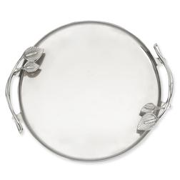 Металлический поднос круглой формы PEACE LILY ROUND TRAY 5*36 (Silver)