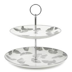 Подставка для десертов с серебристо-серым рисунком GEORGINA 2 TIER CAKE STAND 22*24*24 (Grey)