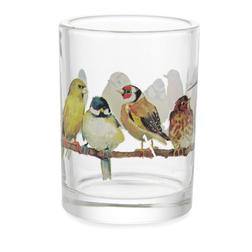 Стеклянный подсвечник с рисунком птиц GARDEN BIRDS TEALIGHT HOLDER 9,5*7 (Multi)