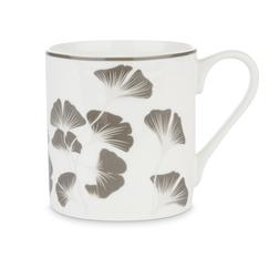 Фарфоровая чашка с рисунком листвы GEORGINA 9,5*8,5 (Grey)