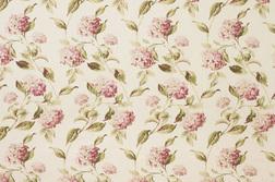 Гардинная ткань в цветы гортензии светло-розового цвета HYDRANGEA (Pink/Natural)