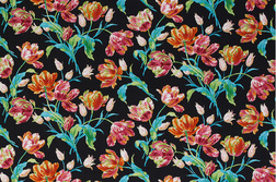 Черная ткань для штор с рисунком цветов тюльпана GOSFORD (Charcoal/Ceris)