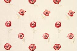 Шелковая ткань в цветы мака FRESHFORD EMBROIDERY (Cranberry)