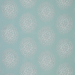 Вискозная ткань для штор голубого цвета с вышивкой цветов COCO (Duck Egg)