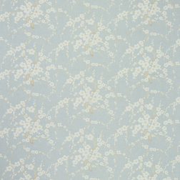 Ткань для штор голубого цвета с принтом цветущей сакуры LORI (Duck Egg)