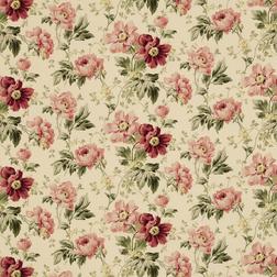 Гардинная ткань с роскошным рисунком ярких цветов пиона PEONY GARDEN (Cranberry)