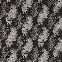 Гардинная ткань черного цвета в перья PLUME (Charcoal)