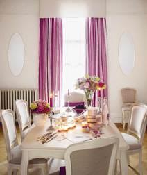 Ткань для штор в вертикальную полоску вишневого цвета EATON STRIPE (Berry)