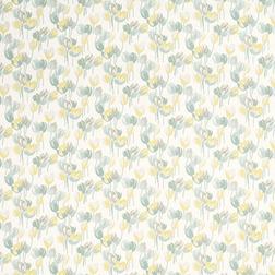 Гардинная ткань в цветы желтого и голубого цвета AVA (Duck Egg)