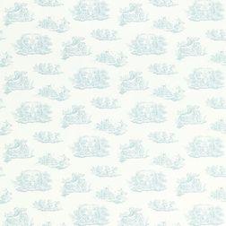 Хлопковая ткань с архивным принтом голубого цвета TOILE (Topaz)