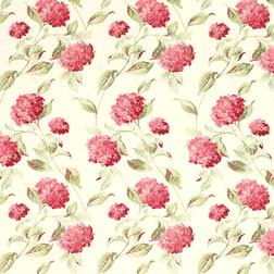 Гардинная ткань в цветы гортензии красно-бордового цвета HYDRANGEA (Cranberry)