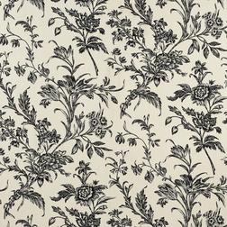 Бумажные обои бежевого цвета с растительным рисунком угольного цвета LLOYD (Charcoal/Biscuit)